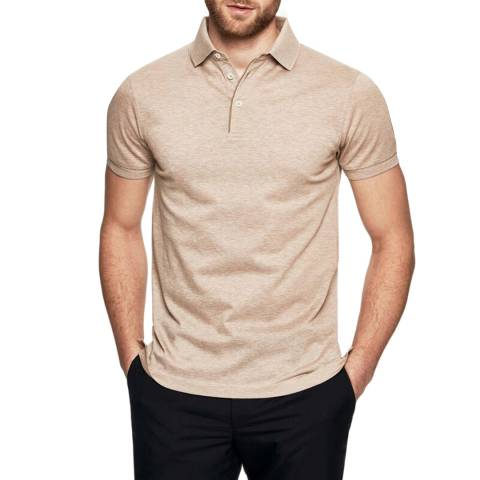 Hackett London Beige Mayfair Pique Slim Polo Shirt