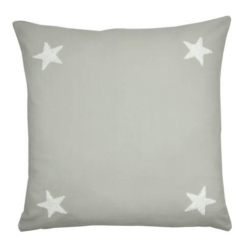 N°· Eleven Tufted Star 43x43cm Cushion, Silver/White