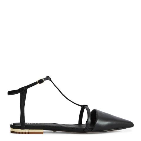 Reiss Black Olivia Leather T-Bar Flats