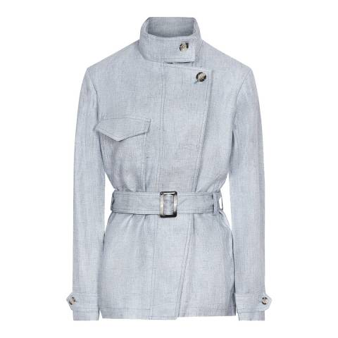 Reiss Pale Blue Arata Linen Jacket