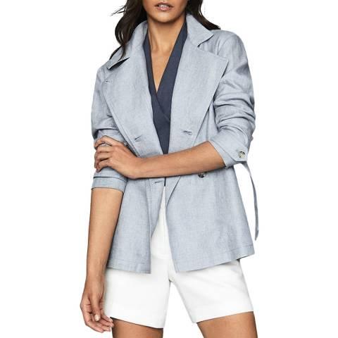 Reiss Pale Blue Arata Linen Jacket