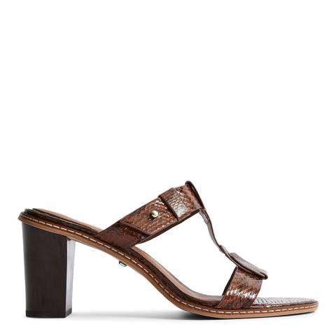 Reiss Tan Snakeskin Alessa Strappy Heels