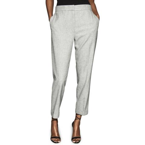 Reiss Light Grey Esme Marl Straight Trousers