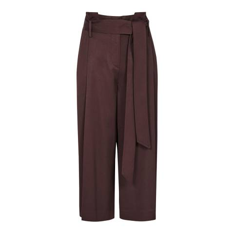 Reiss Deep Red Ludlow Pleat Culottes