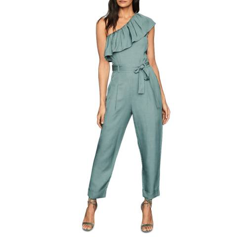 Reiss Green Madeline One Shoulder Jumpsuit