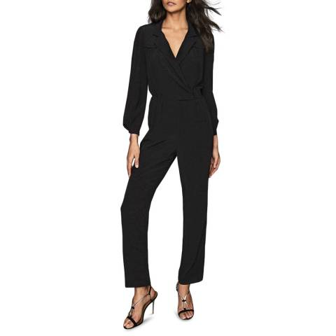 Reiss Black Selena Utility Jumpsuit