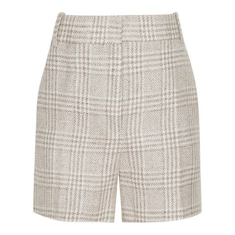 Reiss Beige Lula Check Tailored Shorts