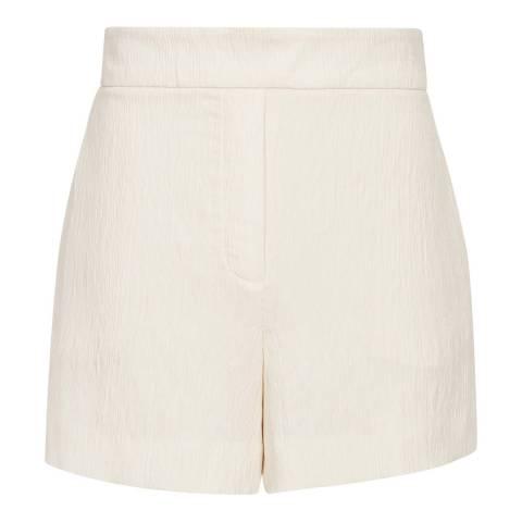 Reiss White Lana Plisse Shorts