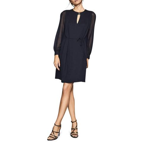 Reiss Navy Leah Metal Trim Dress