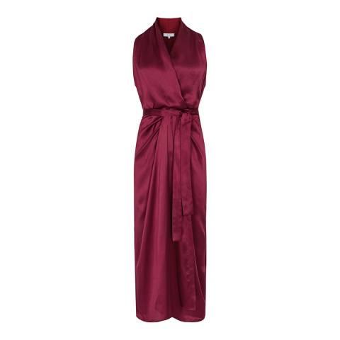 Reiss Burgundy Moa Silk Blend Drape Dress
