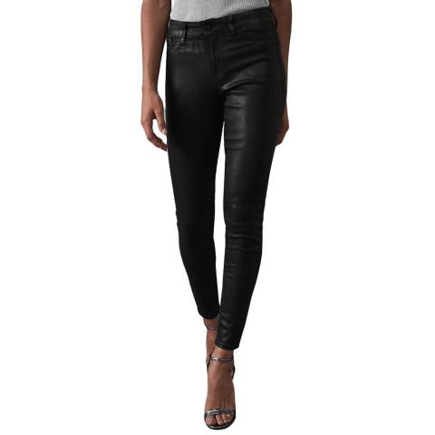 Reiss Black Lux Coated Jeans
