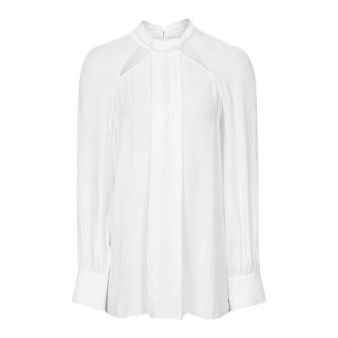 Reiss White Ingrid Tie Neck Top