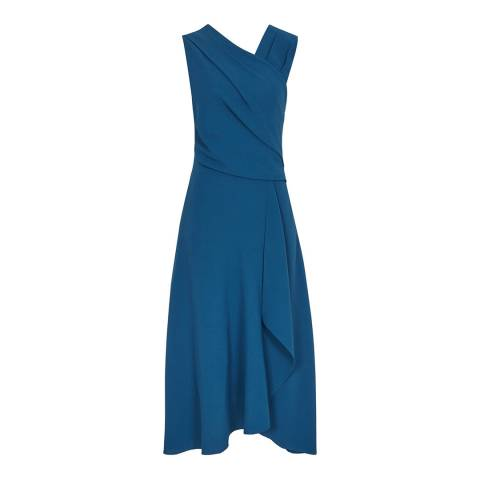 Reiss Teal Marling Wrap Front Midi Dress