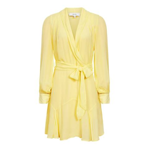 Reiss Yellow Aracelli Sheer Dress