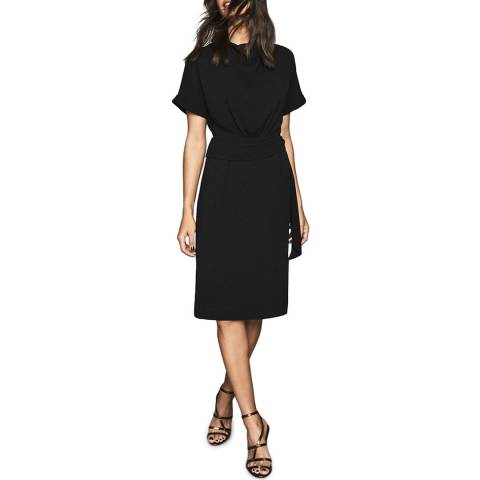 Reiss Black Lola Belt Dress