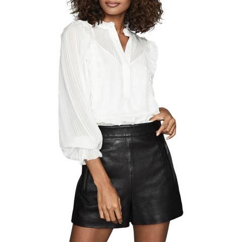 Reiss Ivory Alandra Stripe Ruffle Shirt
