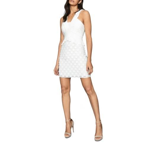 Reiss White Georgia Jacquard Dress