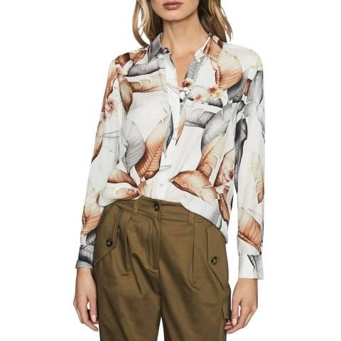 Reiss White Leeta Leaf Print Shirt