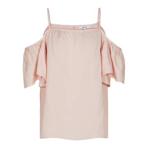 Reiss Pink Ruffle Emma Cold Shoulder Top