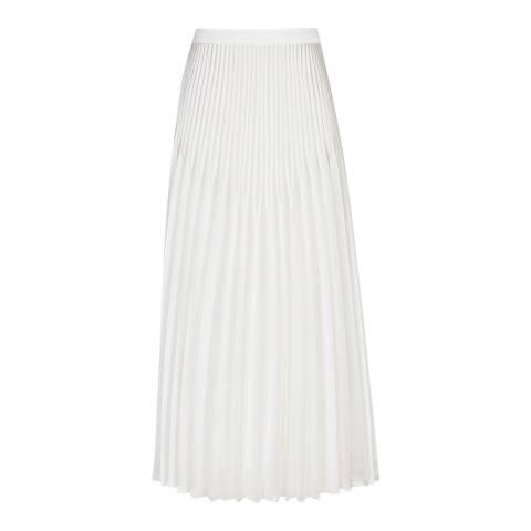 Reiss White Dora Longer Pleated Skirt
