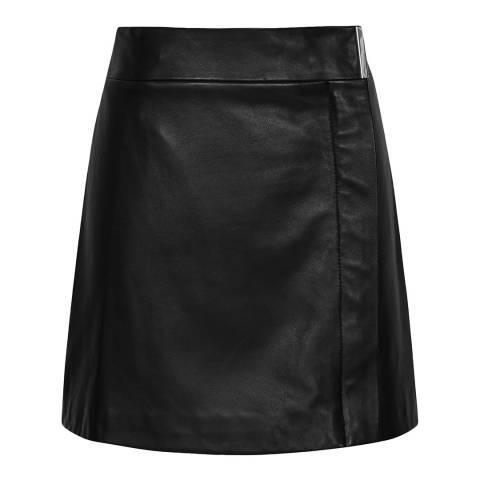 Reiss Black Leather Maxwell Wrap Skirt