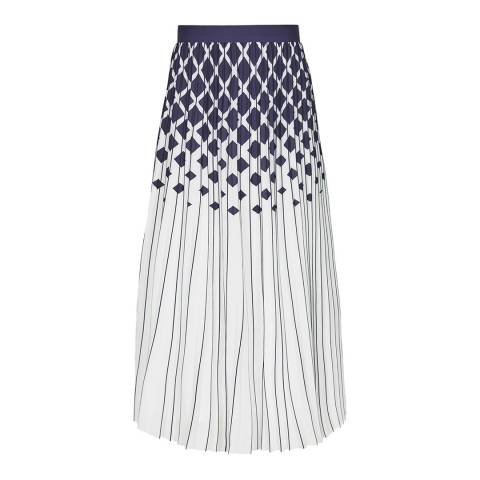 Reiss Navy Elsa Ombre Print Skirt