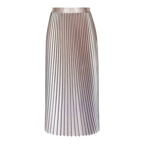 Reiss Pink Metallic Betty Pleated Skirt