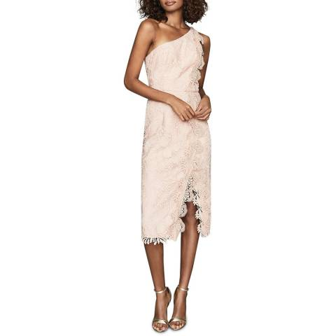 Reiss Nude Mena Lace One Shoulder Dress