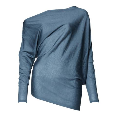Reiss Blue Hartlie Draped Top