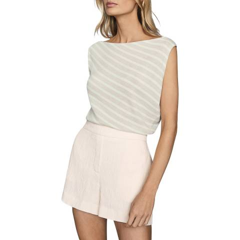 Reiss Neutral Stripe Bex Sleeveless Knit Top