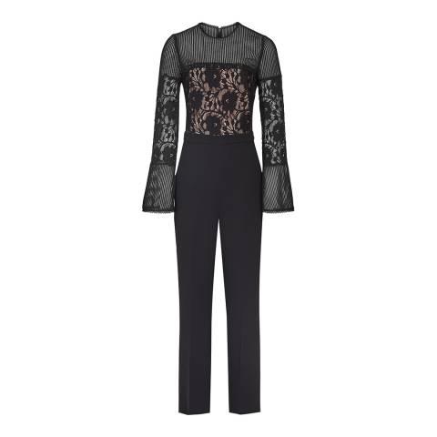 Reiss Black Marion Lace Embellished Jumpsuit
