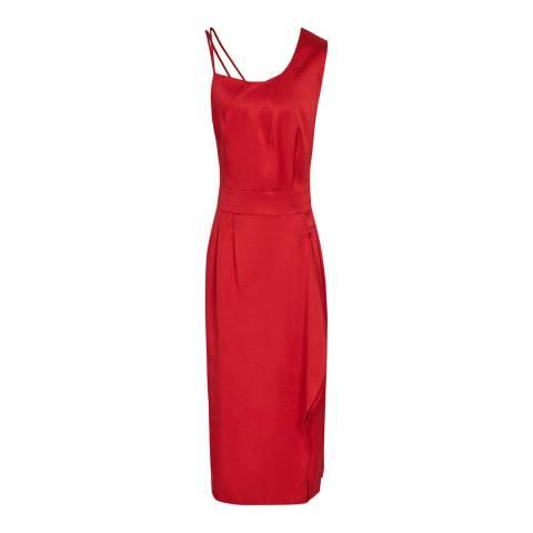 Reiss Red Sara Ruffle Skirt Dress