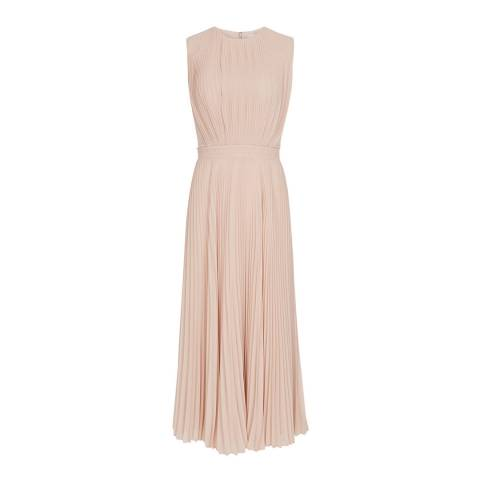 Reiss Nude Pandora Pleat Dress