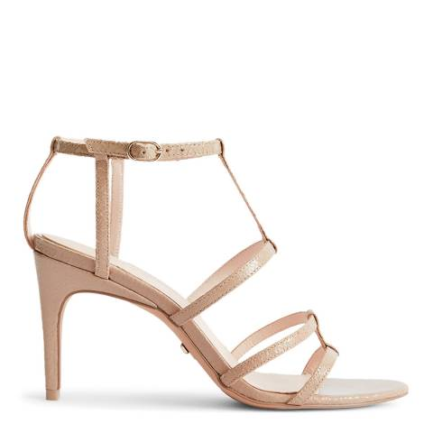 Reiss Beige Harlow T Bar Strappy Heels