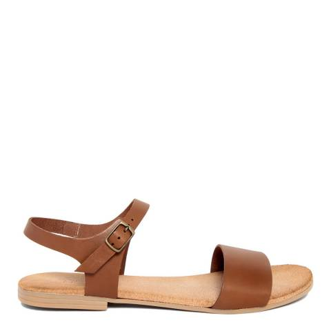 Lionellaeffe Brown Leather Cuoio Flat Sandal