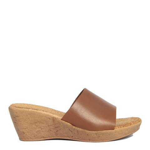 Lionellaeffe Brown Leather Cuoio Wedge Sandal
