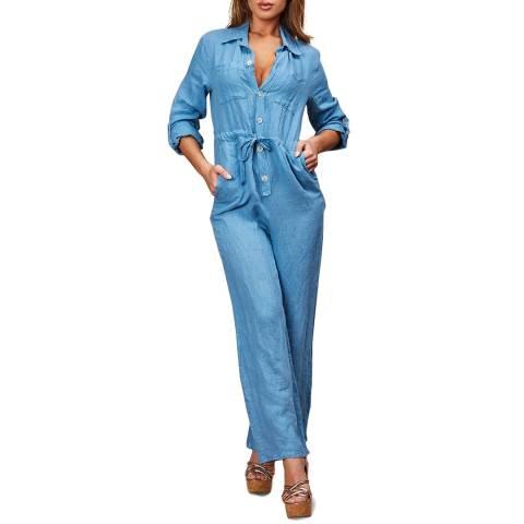 LE MONDE DU LIN Blue Wide Leg Linen Jumpsuit