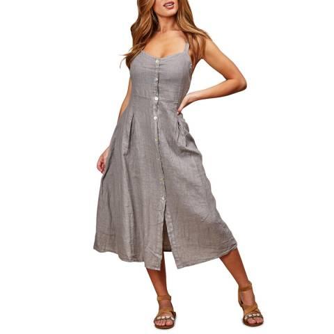 LE MONDE DU LIN Grey Midi Linen Dress