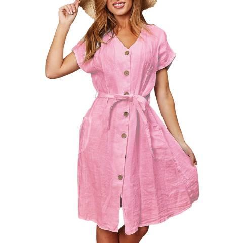LE MONDE DU LIN Pink Midi Linen Dress