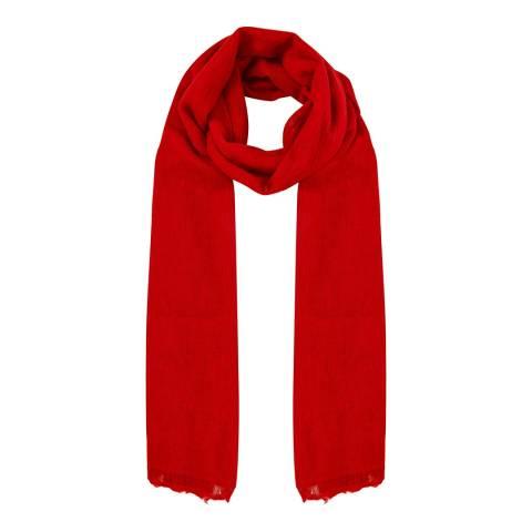 N°· Eleven Red Cashmere Fine Knit Pashmina