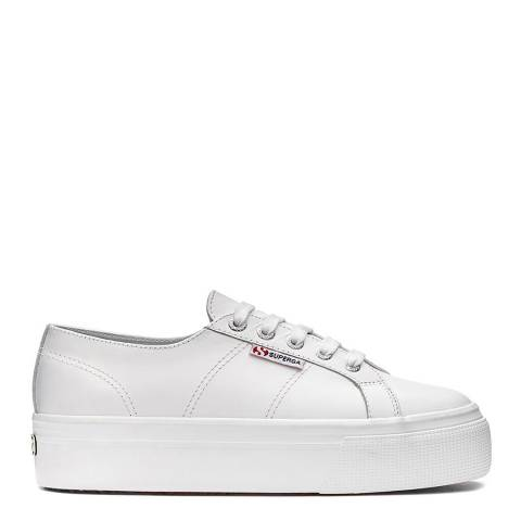 Superga Bordeaux White 2790 Leather Flatform Trainers
