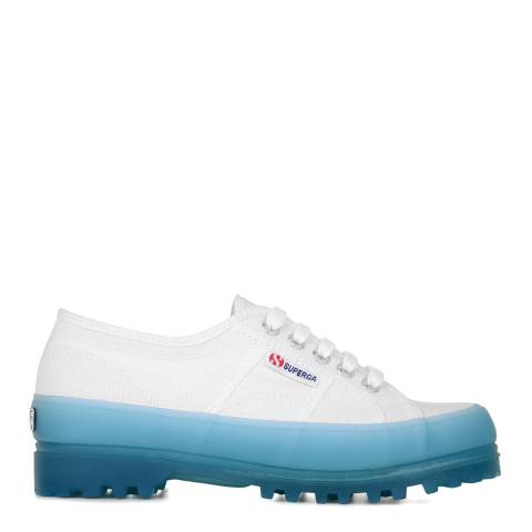 Superga White Blue Light Sky 2555 Alpina Jelly Gum Sole Trainers