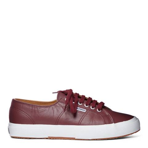 Superga Bordeaux White 2750 Nappa Leather Trainers