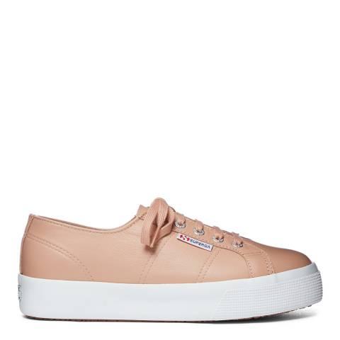Superga Brown 2730 Leather Flatform Sneakers
