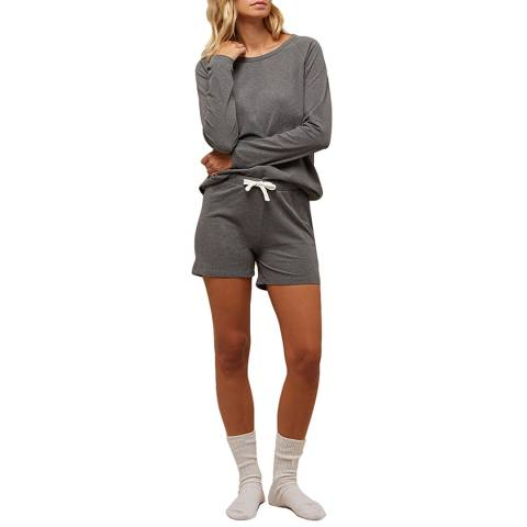 N°· Eleven Charcoal Marl Cotton Jersey Short Set