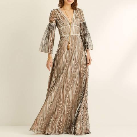Amanda Wakeley Gold Long Sleeve Maxi Dress