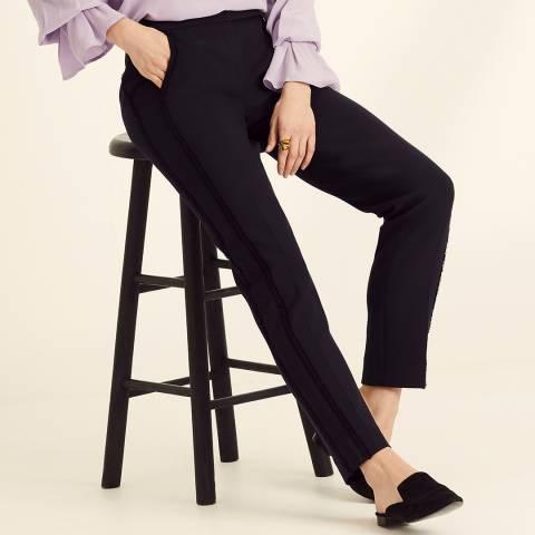 Amanda Wakeley Navy Peg Pant Sculpted Trousers