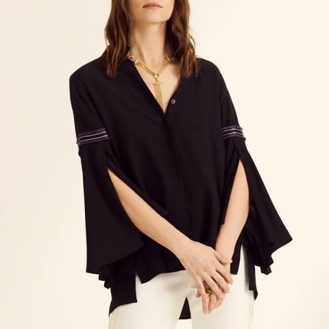Amanda Wakeley Black Oversized Silk Shirt