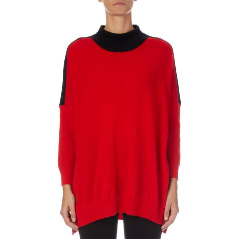 Amanda Wakeley Red/Black Roll Neck Cashmere Blend Knit