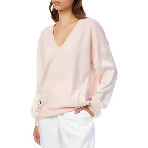 Amanda Wakeley Light Pink V- Neck Cashmere Blend Jumper
